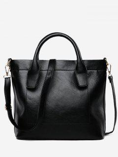 PU Leather Double Handle Stitching Handbag - Black