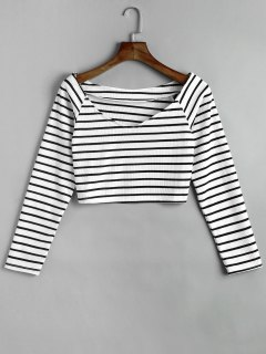 Striped Crop Knitted Top - Black Stripe M