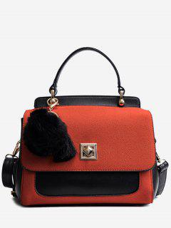 Pom Pom Tassels Color Block Handbag - Red
