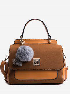 Pom Pom Tassels Color Block Handbag - Light Brown