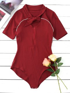 Contrast Half Zip Bow Tied Bodysuit - Wine Red M