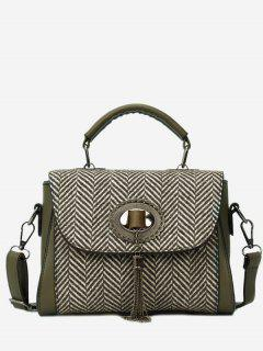 Tassels Tweed Zigzag Pattern Handbag - Green
