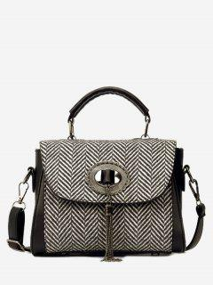 Tassels Tweed Zigzag Pattern Handbag - Black
