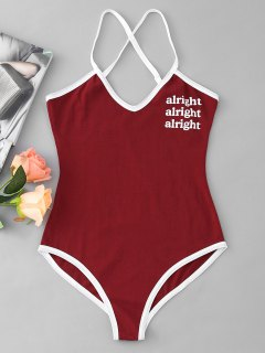 Criss Cross Contrasting Letter Bodysuit - Wine Red M