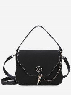 Faux Leather Stitching Handbag - Black