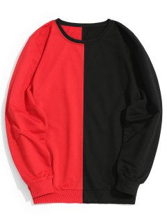 Two Tone Crew Neck Sweatshirt - Red With Black L