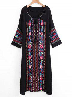 Long Sleeve Embroidered Tassels Maxi Dress - Black