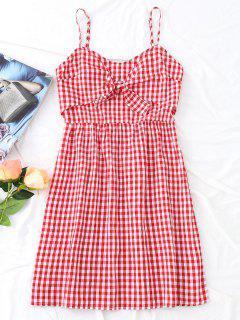 Bow Tied Tiered Plaid Mini Dress - Red M