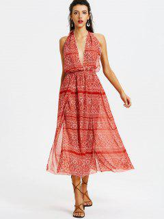 Printed Open Back Maxi Dress - Red Xl