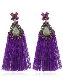 Bohemia Tassel Flower Dangle Earrings - Purple