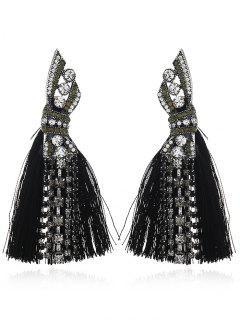 Boucles D'Oreilles Pendantes Motif Géométrique Et Diamant Fantaisie Avec Pompon - Noir