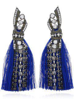 Faux Diamond Tassel Tribal Drop Earrings - Blue