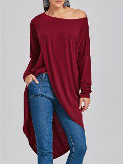 T-shirt Asymétrique à Col Haut Et Bas - Rouge Vineux  Xl