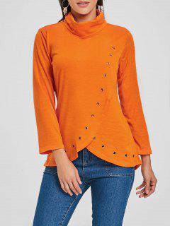 Camiseta De Túnica Asimétrica De Cuello Alto - Naranja S
