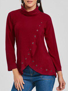 Camiseta De Túnica Asimétrica De Cuello Alto - Vino Rojo S