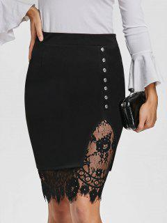 Eyelash Lace Trimmed Bodycon Slit Skirt - Black 2xl