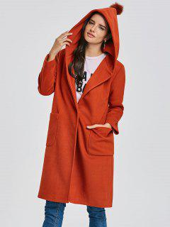 Hooded Longline Coat With Pocket - Sugar Honey 2xl