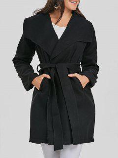 Enveloppez Le Manteau De Laine Ceinturé - Noir L