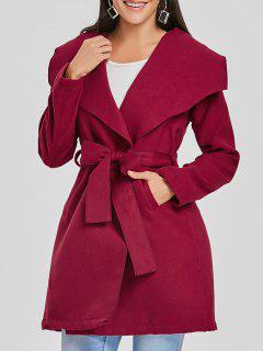 Enveloppez Le Manteau De Laine Ceinturé - Rouge Vineux  Xl