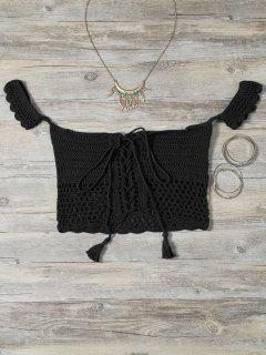 Knitted Off The Shoulder Bikini Bra - Black