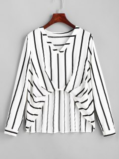 Ruched Stripes High Low Blouse - Stripe M