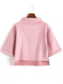 High Low Faux Wildleder Top - Pink