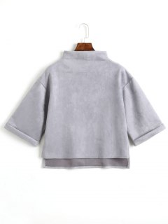 High Low Faux Suede Top - Light Gray