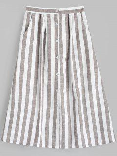 High Waist Button Up Striped Skirt - Stripe Xl