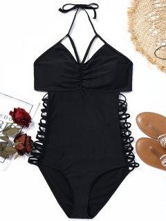 Halter Riemchen Plus Size Badeanzug - Schwarz Xl