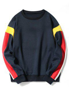 Fleece Lining Color Block Sweatshirt - Cadetblue L