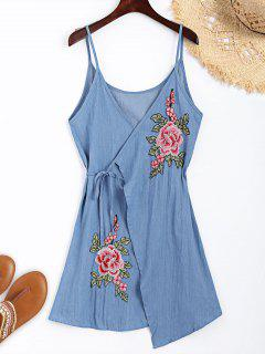 Floral Applique Denim Cami Wrap Dress - Bleu Clair M