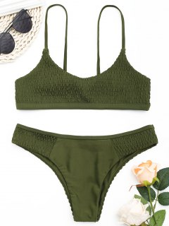 Scoop Smocked Bikini Set - Army Green M