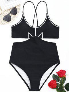 Contrast Trim Monokini - Black S