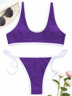 Kontrast Trim Tanga Bikini Set  - Violett L