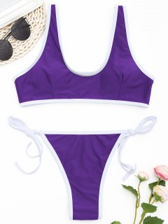 Kontrast Trim Tanga Bikini Set  - Violett M