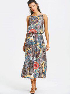 Elastic Waist Printed Maxi Dress - L
