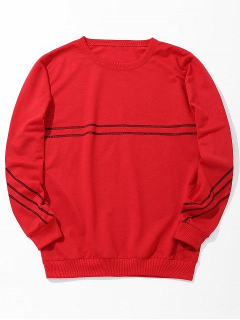 Rundhalsausschnitt Stitching Sweatshirt - Rot L Mobile