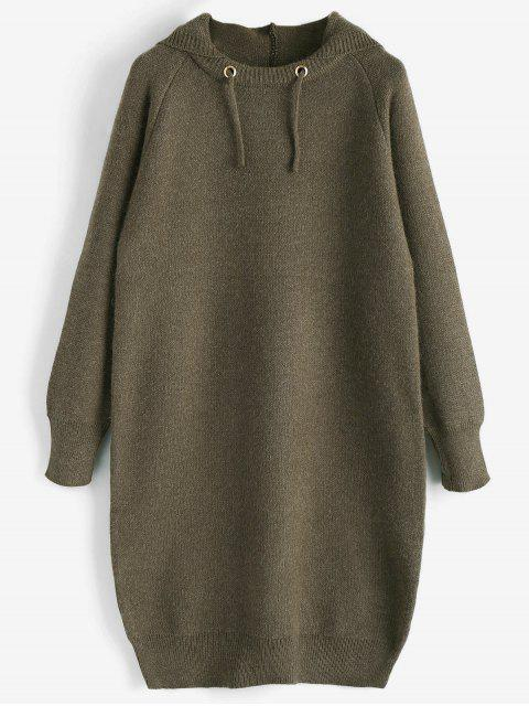 unique Hooded Sweater Dress - OLIVE GREEN ONE SIZE Mobile