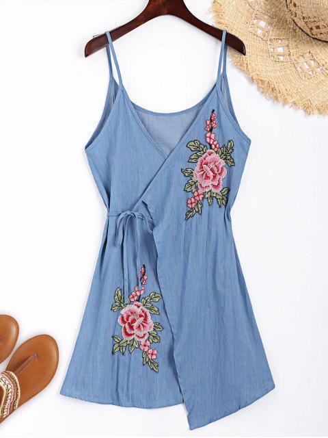 chic Floral Applique Denim Cami Wrap Dress - LIGHT BLUE M Mobile
