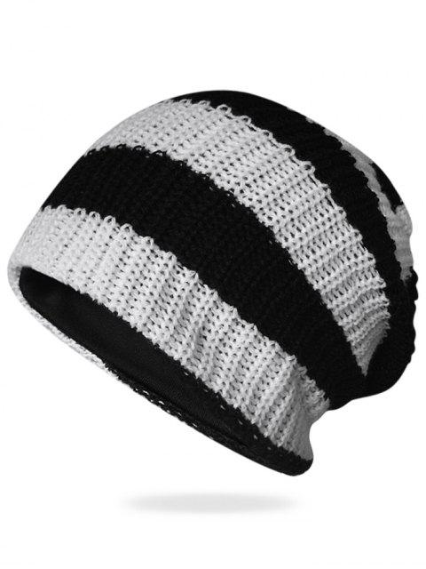 women's Striped Pattern Decorated Crochet Knitting Thicken Beanie - BLACK  Mobile