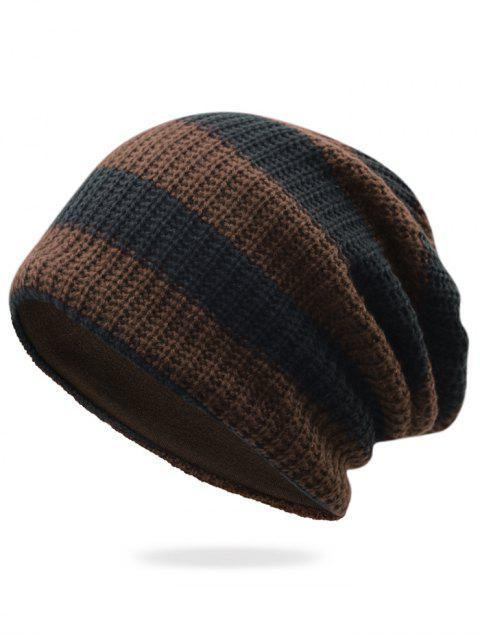 best Striped Pattern Decorated Crochet Knitting Thicken Beanie - COFFEE  Mobile