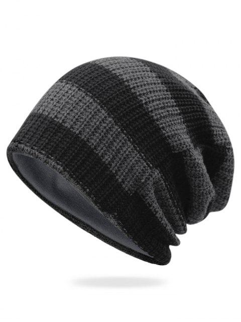 online Striped Pattern Decorated Crochet Knitting Thicken Beanie - DARK GRAY  Mobile