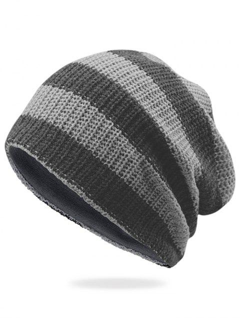 outfit Striped Pattern Decorated Crochet Knitting Thicken Beanie - LIGHT GREY  Mobile