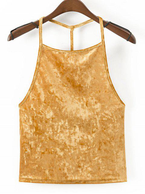 women Strappy Velvet Open Back Tank Top - YELLOW L Mobile