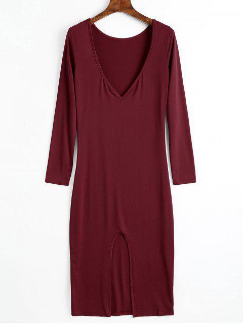 Rückenfreies Ausgeschnittes Langarm Kleid - Weinrot XL Mobile