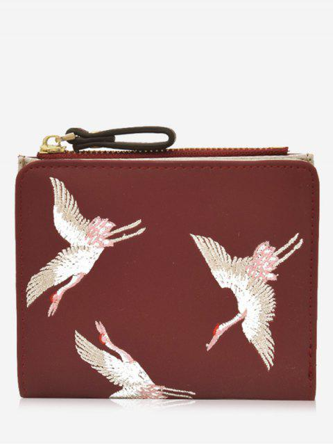 chic Bi Fold Birds Embroidery Wallet - RED  Mobile
