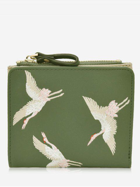 fancy Bi Fold Birds Embroidery Wallet - GREEN  Mobile