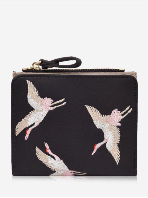 Bi Fold Vögel Stickerei Brieftasche - Schwarz  Mobile