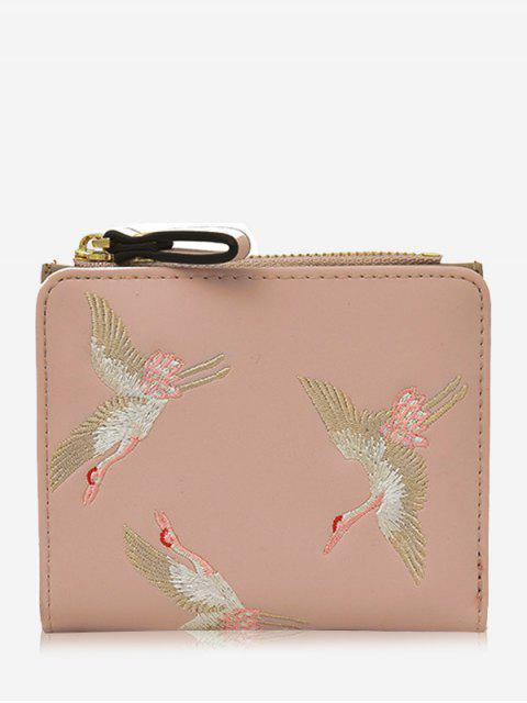 sale Bi Fold Birds Embroidery Wallet - PINK  Mobile