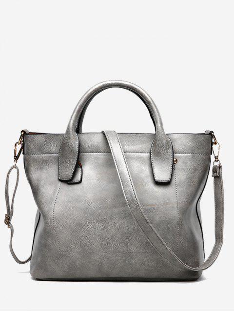 buy PU Leather Double Handle Stitching Handbag - GRAY  Mobile